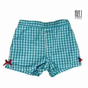 Kids Headquarters Aqua Gingham Hem Bow Shorts 6
